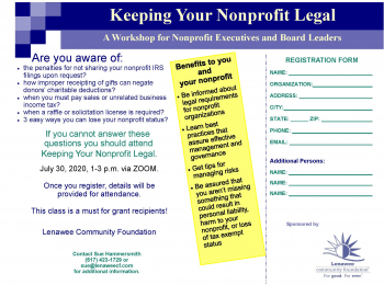 New Workshop – Keeping Your Nonprofit Legal 2020 from the Lenawee Community Foundation